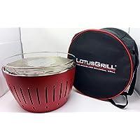 Lotusgrill Lotusgrill Edelstahl Stahl Kunststoff klein rot Balkon Camping Picknick ✔ rund ✔ tragbar rauchfrei ✔ Grillen mit Holzkohle ✔ für den Tisch