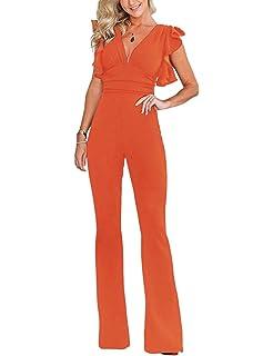 a80ea3071a39 Mioloe Women Jumpsuit V Neck Ruffle Sleeve Plain Wide Leg Long Pant  Jumpsuit Rompers Zipper