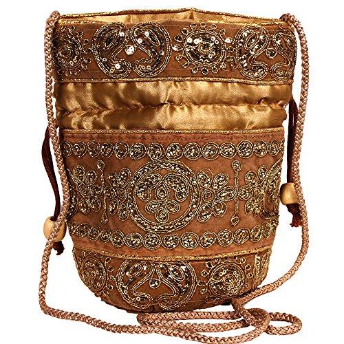 purpledip tradicional Seda Potli Bolsa para mujeres, Golden (10238)