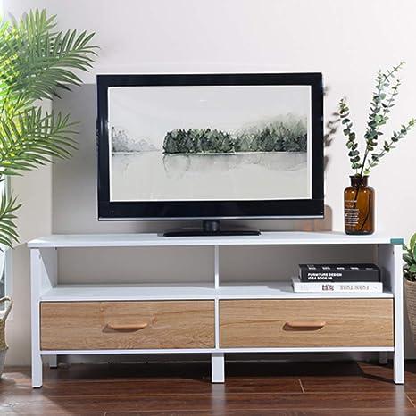BAKAJI Mobile Mobiletto TV in Legno Credenza con Base Televisione Scomparti  e 2 Cassetti Dimensione 120 x 38 x 47 cm Colore Bianco e Legno Naturale ...