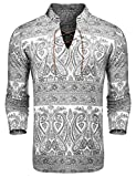 COOFANDY Men's Paisley Print Shirts Slim Fit V-Neck Floral Casual Cotton Long Sleeve Lace-up Shirt, White, X-Large