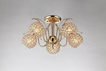 Buy The Light Studio Golden Ceiling Light With 5 Lights Online At Low Prices In India Amazon In