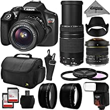 Canon EOS Rebel T6 Digital SLR Camera Kit w/EF-S 18-55mm f/3.5-5.6 IS II and 75-300mm f/4-5.6 III Zoom Lens + 6.5mm Fisheye + 0.43x Macro + 2.2x Telephoto + 64GB Memory + Flash + Bag + Filter Bundle