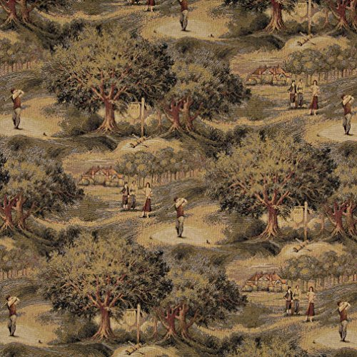 - A003 Golfers Golf Course And Clubhouse Themed Tapestry Upholstery Fabric By The Yard