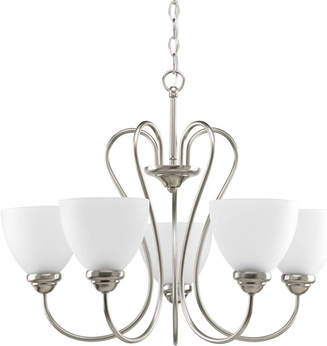 Progress Lighting P4666-09 Transitional Five Light Chandelier from Heart Collection in Pwt, Nckl, B S, Slvr. Finish, Brushed Nickel