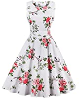 Olddnew Plus Size Women's Vintage 1950s Cocktail Party Dresses Floral Scoop Neck Sleeveless Cotton A Line Dress
