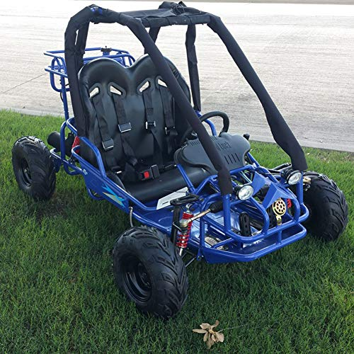 110cc Pre-Teen Go Kart 2-Seater Gas Powered Off-Road Go Cart for Kids and Youths (Blue)
