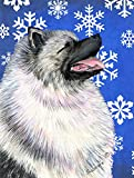 Caroline's Treasures SS4626CHF Keeshond Winter Snowflakes Holiday Flag Canvas, Large, Multicolor