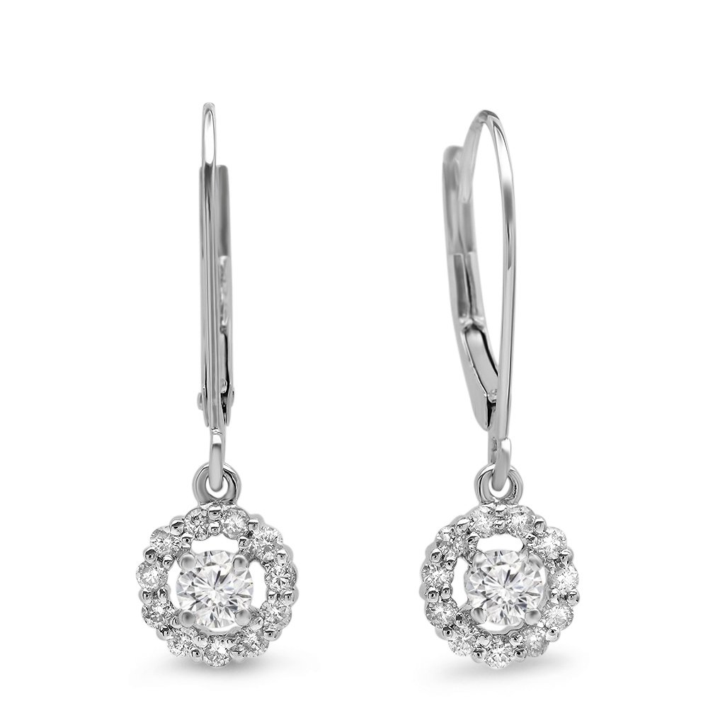0.55 Carat (ctw) 14K White Gold Round Cut Diamond Ladies Cluster Halo Style Drop Earrings 1/2 CT