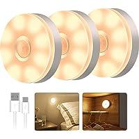 T Tersely 3 Pack LED Motion Sensor Light Indoor Wireless LED Closet Lights, USB Rechargable Night Light Step Light…