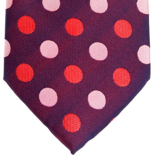 Retreez Two-Color Polka Dots Woven Microfiber Men's Tie - Dark Purple with Pink and Red Polka Dots