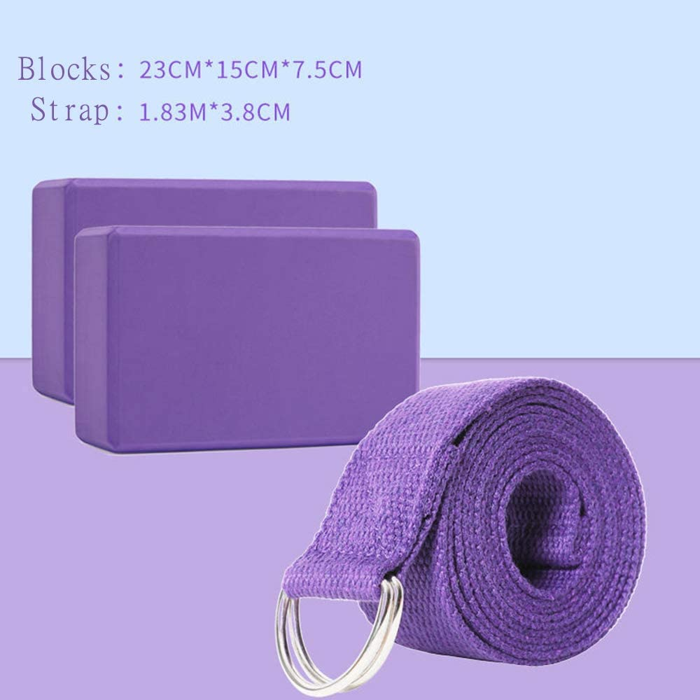 2PC and Metal D Ring Yoga Strap Combo Set,High Density EVA Foam Block to Support and Deepen Poses Annystore Yoga Blocks