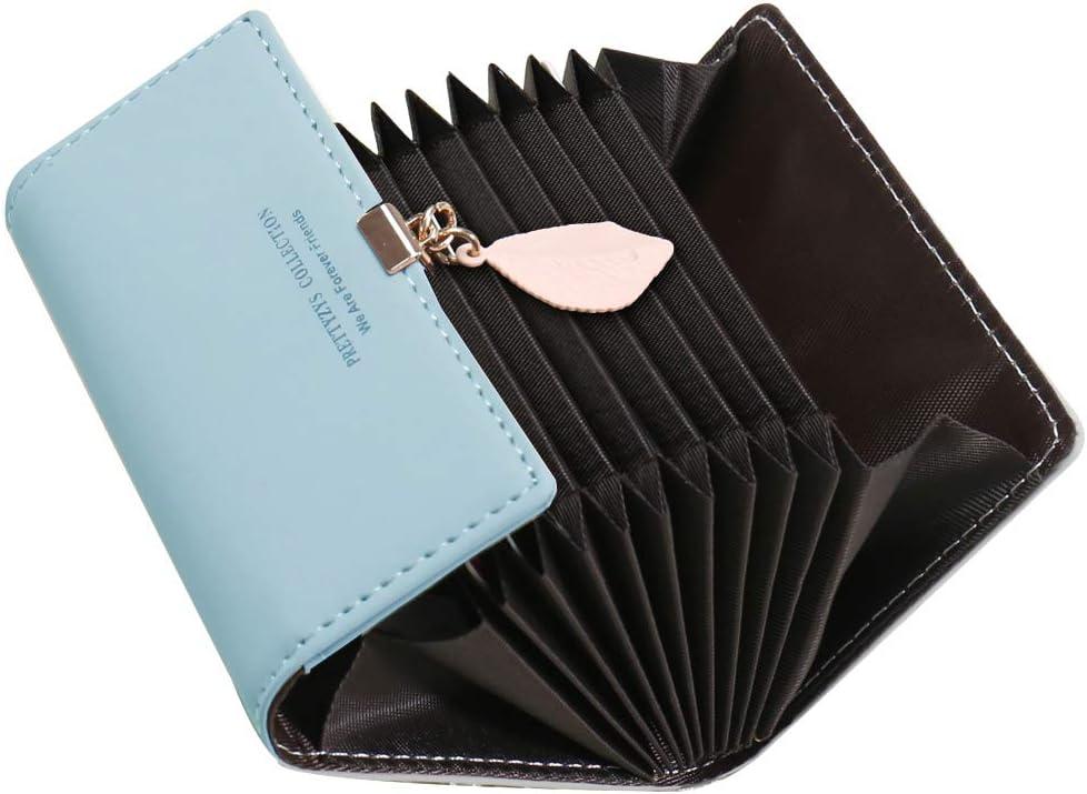 Bleu Porte Carte de Cr/édit Femmes SAMKING Cuir V/éritable RFID Porte-Cartes de Visite Portefeuille Porte Monnaie Fermeture /éclair