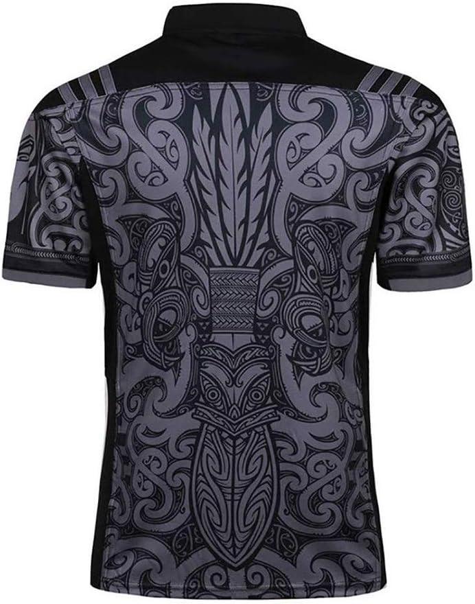 Hombres Rugby Jersey Team Nueva Zelanda Maori All Blacks Entrenamiento Copa Mundial Ropa Futbol Camiseta Deportiva Casual for Hombre Size : S