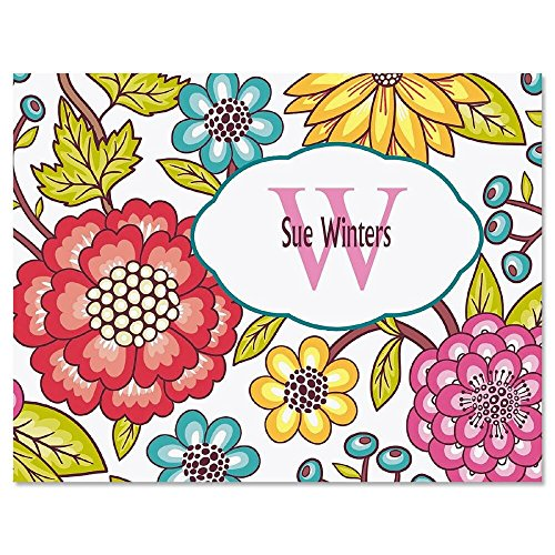 Garden Whimsy Initial Personalized Note Card Set - 24 cards & envelopes