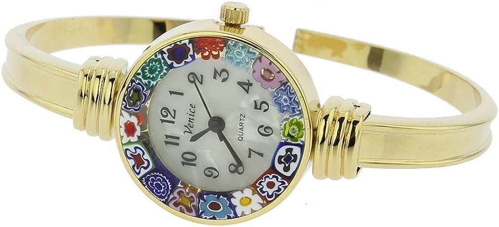 GlassOfVenice Murano Glass Millefiori Bangle Watch – Gold