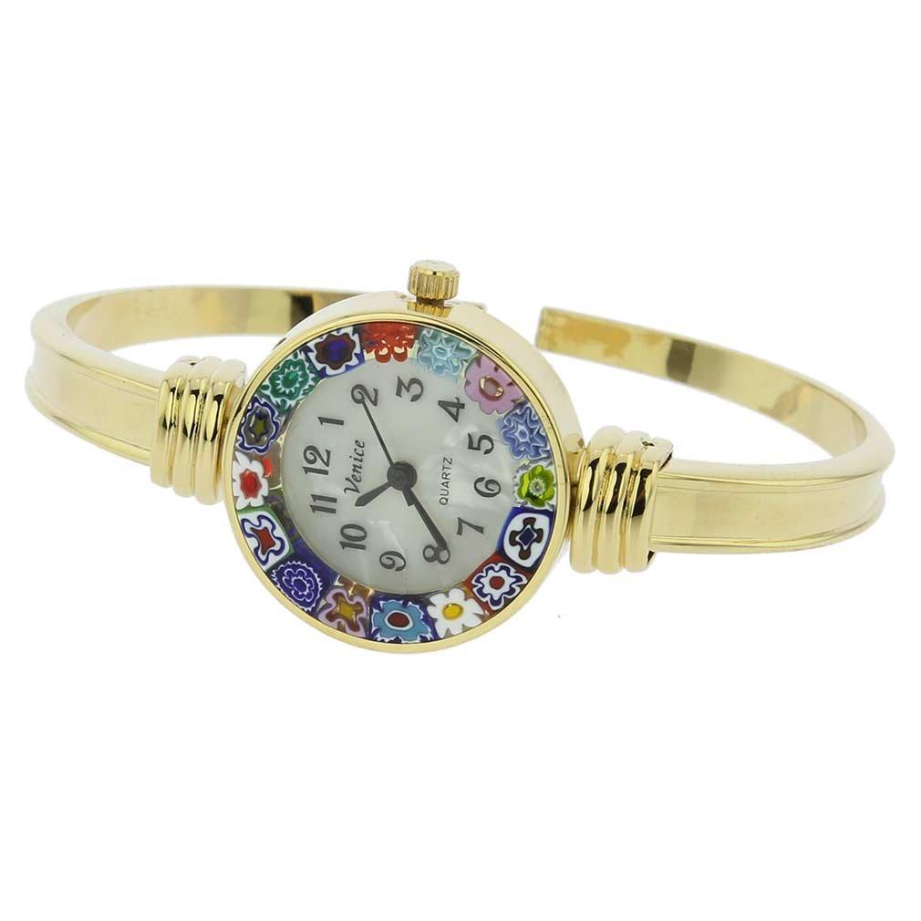 GlassOfVenice Murano Glass Millefiori Bangle Watch - Gold