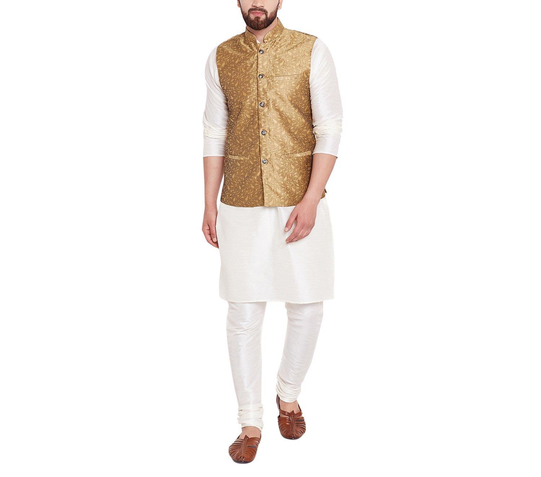 Sojanya Men's Jacquard Silk Nehru Jacket Medium Gold