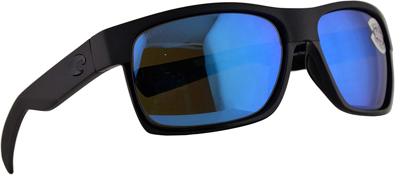 NEW Costa Del Mar HALF MOON Shiny Black /& Matte Black 580 Blue Mirror Glass 580G