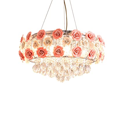 half off 3578a d8080 Briskaari Store- Modern Garden Flower Crystal Lamp Bedroom Restaurant Room  Wedding Creative Chandelier Simple Girl Pink Lamp