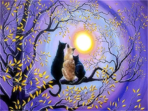 Xdxart Diy Oil Paint By Number Kit For Adults Beginner 16x20 Inch Tree Cats And Purple Sky Drawing With Brushes Christmas Decor Decorations Gifts Without Frame