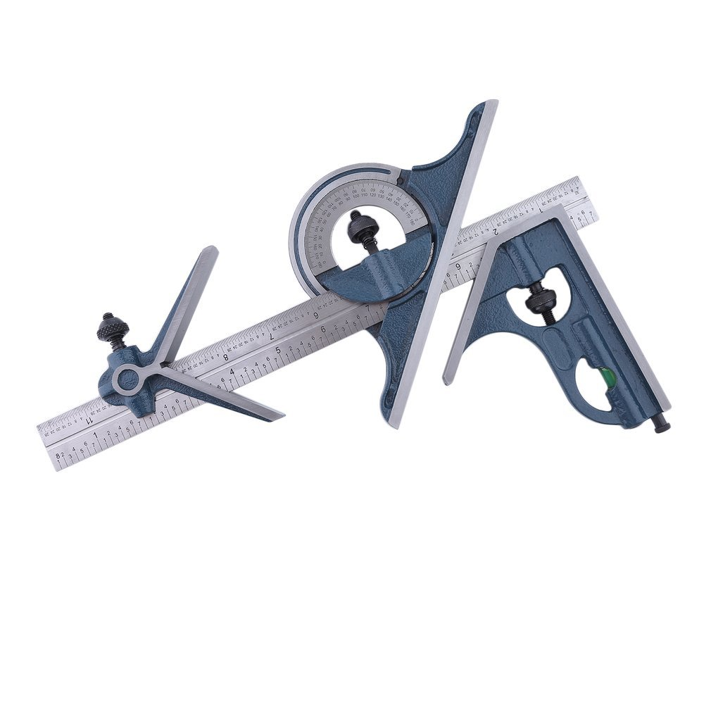 Homgrace Combination Machinist Square Set, 4R 4 piece Stainless Steel Angle Combination Square Protractor Universal Bevel Ruler Set