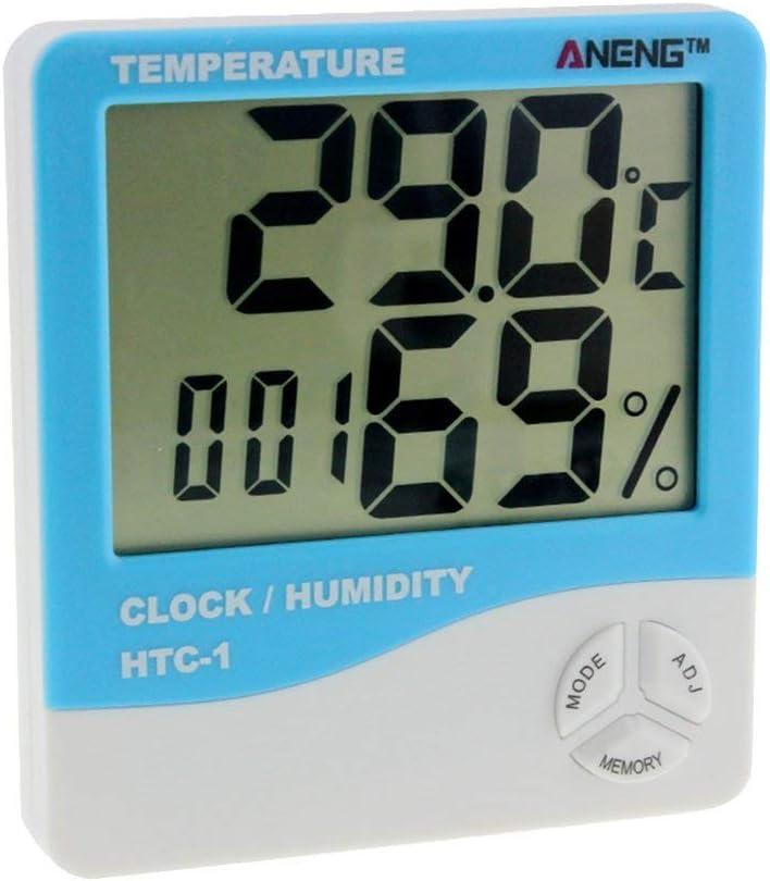 HIPENGYANBAIHU HTC-1 Indoor LCD Elektronische Digitale Temperatur-Luftfeuchtigkeitsmesser Raumthermometer Hygrometer Wecker Wetterstation Farbe: Blau