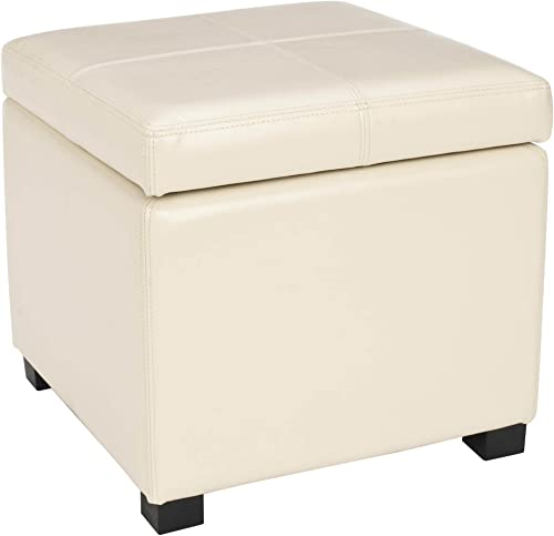 Safavieh Hudson Collection Williamsburg Cream Leather Square Storage Ottoman