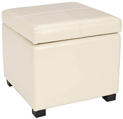 Bon Safavieh Hudson Collection Williamsburg Cream Leather Square Storage Ottoman