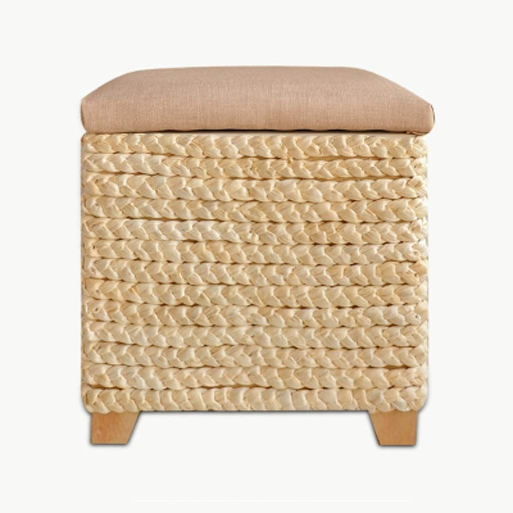 Rattan Straw Storage Stool Shoe Bench can sit People Large Multi-Purpose Solid Wood Storage Box Storage Box Storage Stool Bench Foot Rest Decoration Furniture Leather Padded Seat 35 X35 X 41cm