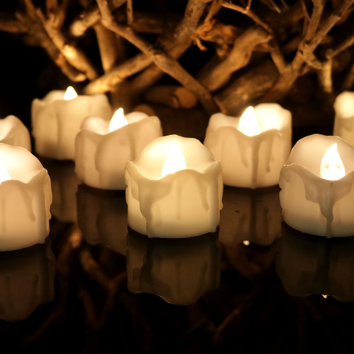 Youngerbaby 12pcs Warm White Flickering Tea Light Candles with Decor Rose Petals, Flameless Wax Dripped Battery-Powered LED Tealights For Wedding Christmas, Party, Room and Back Yard