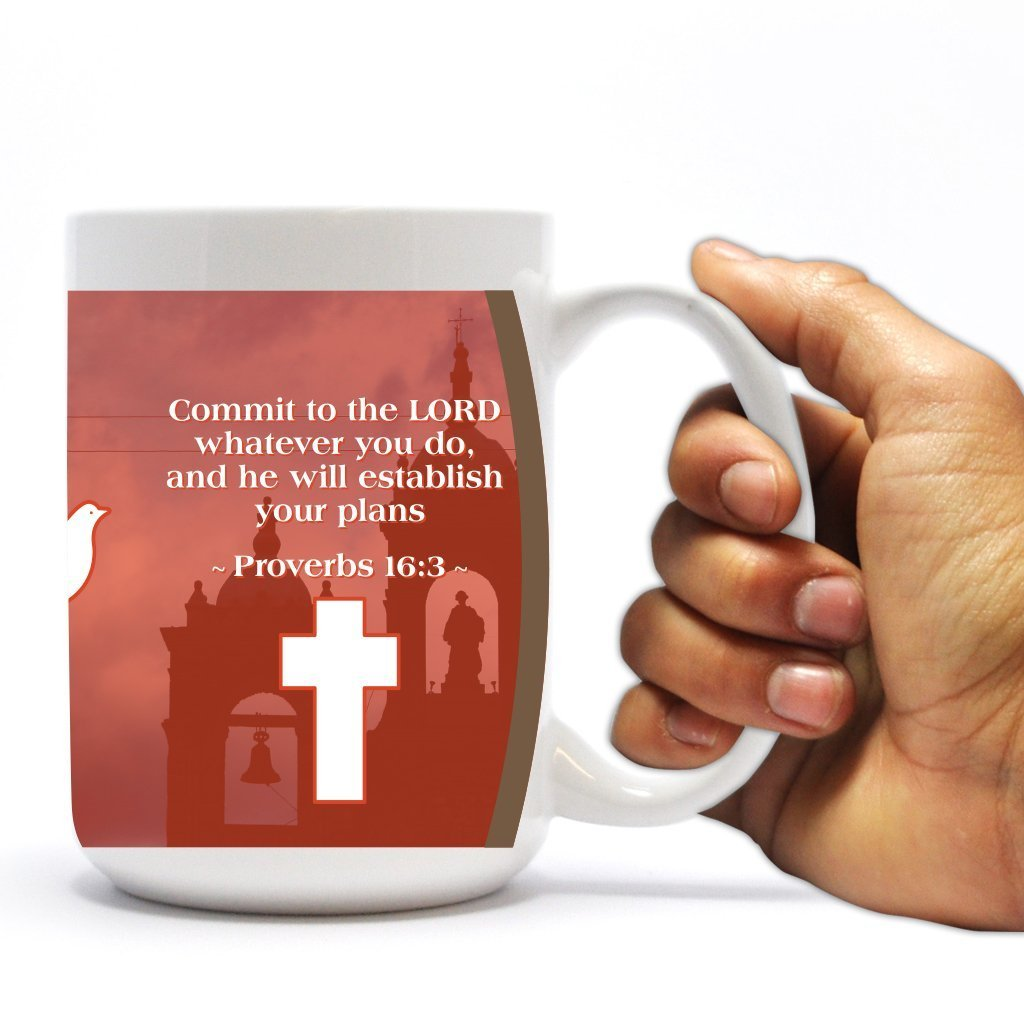 Amazon.com: Religious Bible Quote Coffee Mug - Proverbs 16:3 - 15 Oz ...