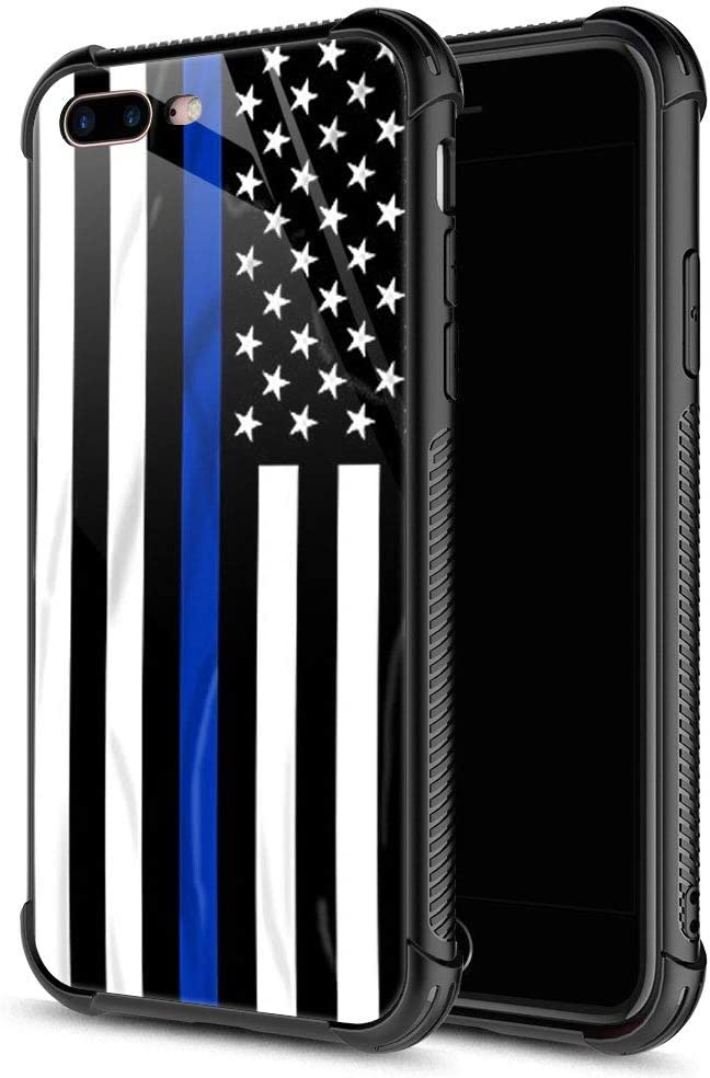 iPhone SE 2020 Case, iPhone 8 Case Blue line American Flag iPhone 7 Cases, Tempered Glass Back+Soft Silicone TPU Shock Protective Case for Apple iPhone 7/8/SE2