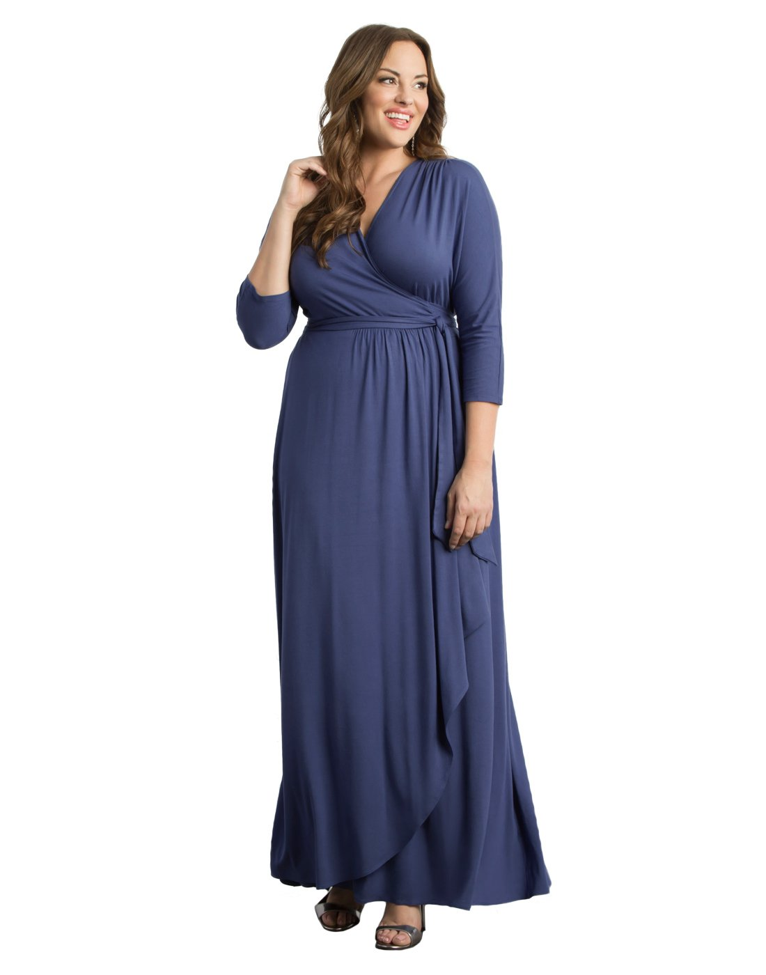 Kiyonna Women's Plus Size Wrapped in Romance Dress 1X Bluebird