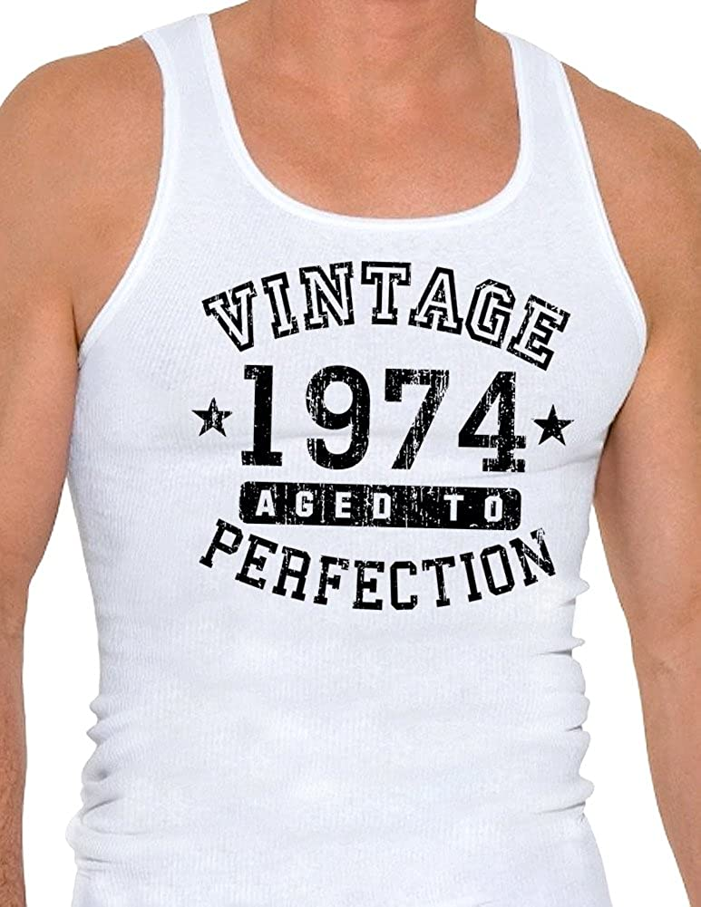 TooLoud 1974 Vintage Birth Year Mens Ribbed Tank Top Brand