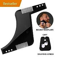 Modello di strumento per modellare la barba, linea sottile per capelli facciali da uomo leggero Linee simmetriche perfette e rifiniture con tagliacapelli Tagliacapelli con pettinatura per barba libera