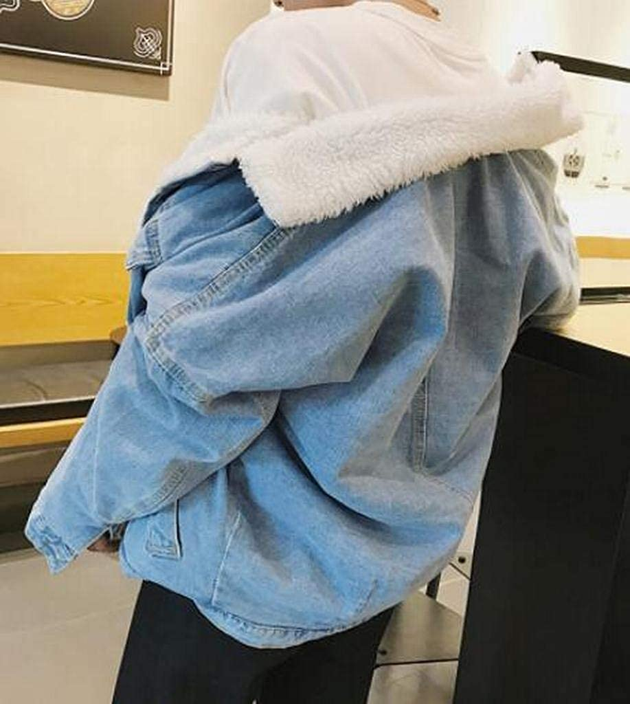 YYG Men Thick Winter Button Down Fleece Lined Rugged Denim Trucker Jacket Quilted Coat