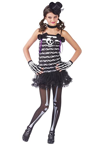 fun world girls skeleton cute goth kids halloween costume m