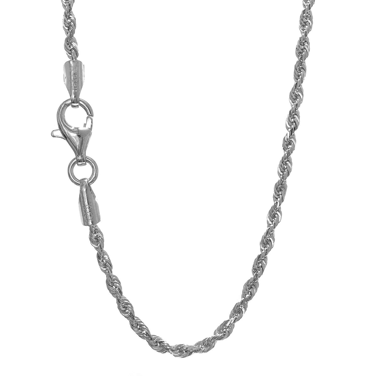 JewelStop 14k Solid White Gold 1.5 mm Rope Chain Necklace, Lobster Claw Clasp - 20'', 3.8gr.