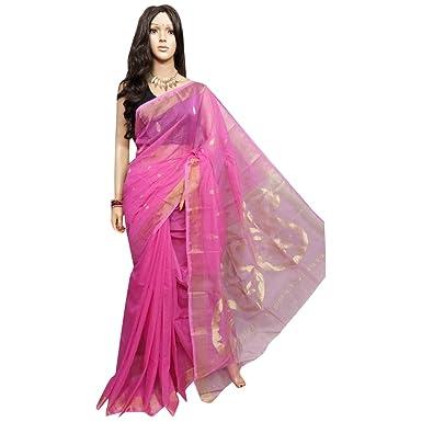 afc847edb0ca4 Amazon.com  Handloom Silk Saree Linen jamdani Saree weaving work by weavers  traditional handoom Bengal Women sari Indian Ethnic Festive saree 122 8  ...