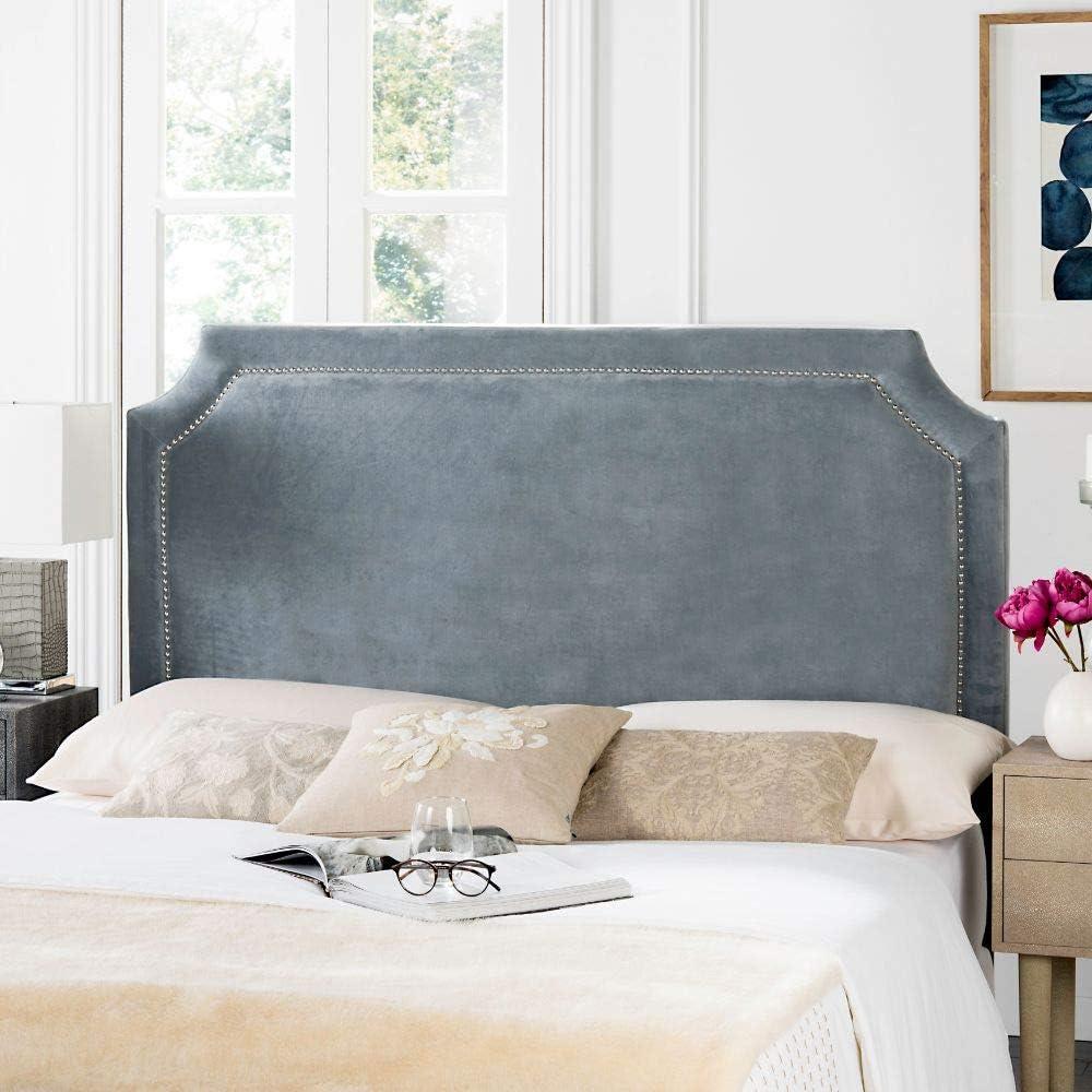 Safavieh Shayne Grey Suede Upholstered Headboard - Silver Nailhead (Full)