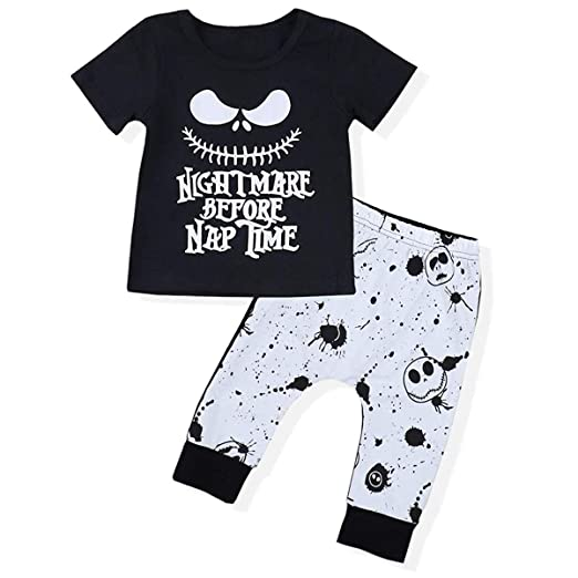 e268c6dfe34f Amazon.com  Infant Baby Boy Halloween Outfit Outfit Set Letter ...