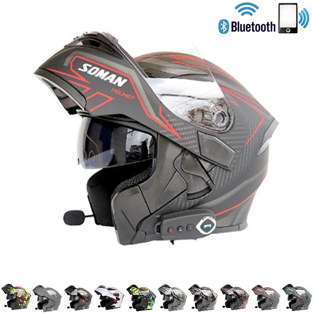 C-TK Bluetooth integrierter modularer Motorradhelm ECE22.05 Zertifiziert DOT-Sicherheitsstandard-Full-Face Gesamt-Motorradhelm