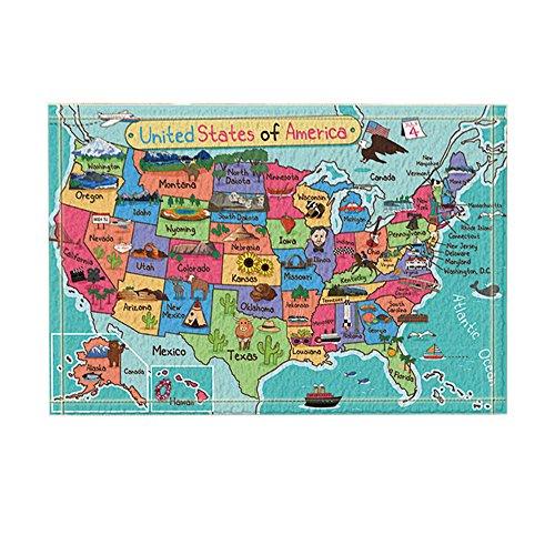 KOTOM Kids Map of The United States Decor, Cartoon Fun Facts Geography USA Map Bath Rugs, Non-Slip Doormat Floor Entryways Indoor Front Door Mat, Kids Bath Mat, 15.7x23.6in, Bathroom Accessories