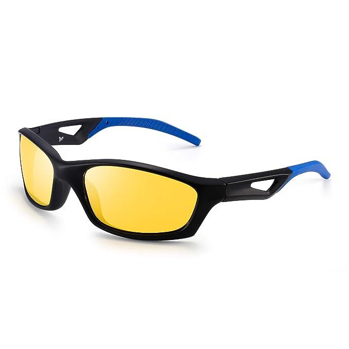 JM Conducción Nocturna Gafas Deportivas Polarizadas Anti Deslumbramiento Visión Nocturna Gafas de Sol Reduce Fatiga Visual