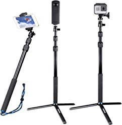 Smatree SmaPole Y2 Telescoping Pole with Tripod Stand for GoPro Hero 2018//GoPro Fusion//Hero7// 6//5//4//3+//3//2//1//Session WiFi Remote Controller is NOT Included