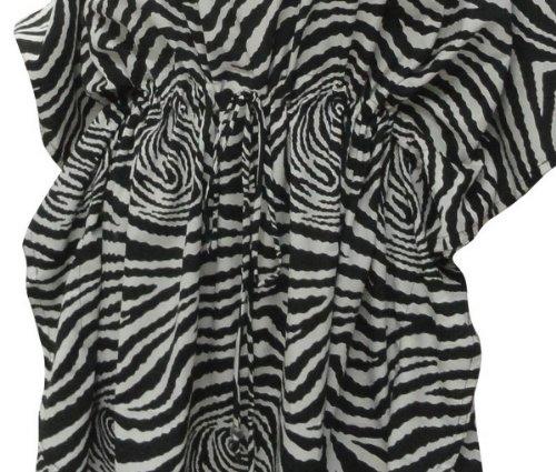 La Leela likre negro playa impresa de natación encubrir capitalización caftán mujeres túnica blusa superior de la manga