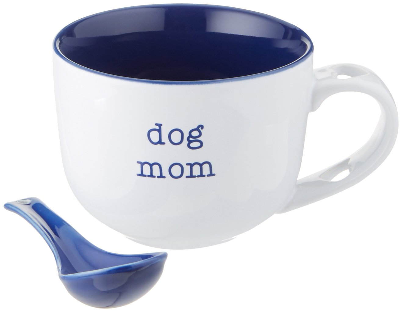 Pavilion Gift Company 14120 Dog Mom Soup Bowl with Spoon, 16-Ounce, Mom Love
