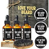 PREMIUM BEARD KIT by Leven Rose Beard Brush, Wax, Spiced Sandalwood Beard Balm, Fragrance Free Beard Balm, Beard Comb, Spiced Sandalwood Beard Oil, Escape Cedarwood Beard Oil and Zen Juniper Beard Oil