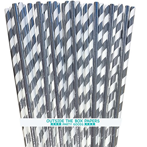 (Silver Solid and Stripe Foil Paper Straws - 7.75 Inches - 100 Pack - Outside the Box Papers Brand)